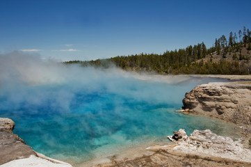USA, Montana, Wyoming, Yellowstone National Park, Hot water vapor in national park