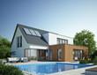 Leinwanddruck Bild - Haus Anbau mit Pool