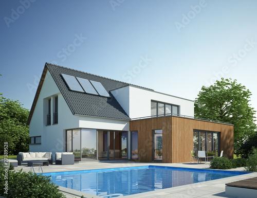 Leinwanddruck Bild Haus Anbau mit Pool