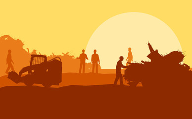 Silhouette of working men on background