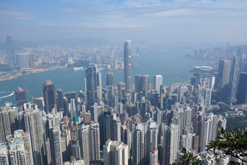 China, Hong Kong, City scape on sunny day