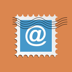 Vector email, postage stamped