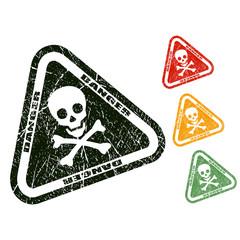 Skull danger stamp