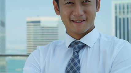 Confident Male Asian Chinese Financial Consultant Close Up