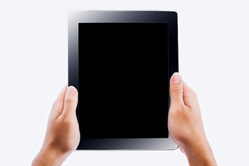hands holding contemporary generic tablet