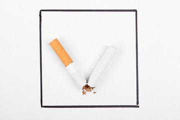Broken cigarette like tick mark. Stop smoking concept.