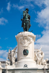 Statue Jose I. at the Commerce Square in Lisbon, Portugal
