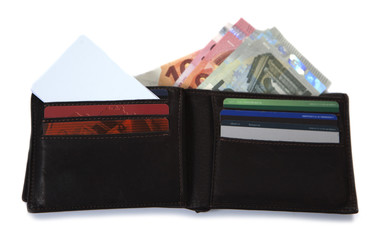portefeuille et billet d'euros