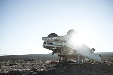 USA, Wyoming, View of abandoned truck