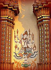 Thailand, Suan Mon village, Buddhist artwork in temple