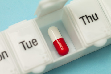 Close up of daily pill box