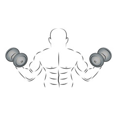 Athlete with two dumbbells, vector illustration.