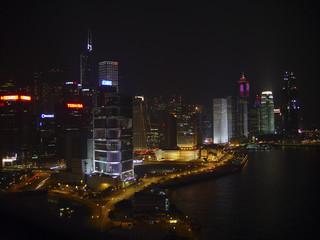 China, Hong Kong harbor at night
