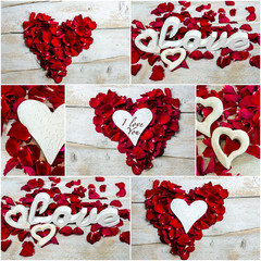 Collage: Love, red rose petals and hearts :)