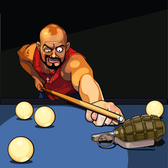 gangster man playing billiards, tries to target a grenade