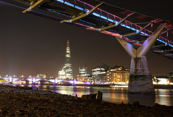 United Kingdom, England, London, View of Millennium Bridge at night