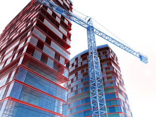 The  image of building construction on a white background