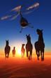 Horses in the desert.