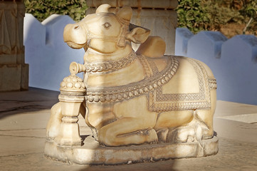Sacred cow in cenotaph. Udajpur, India.