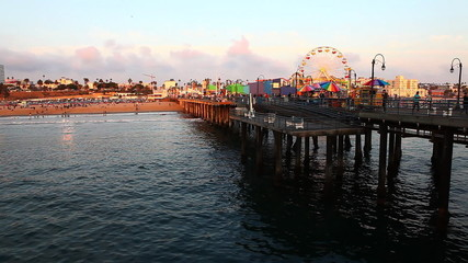 A view of the attractions of the Santa Monica Pier