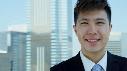 Close Up Male Asian Chinese Finance Consultant Outdoors