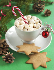 Cup filled with hot chocolate and marshmallows