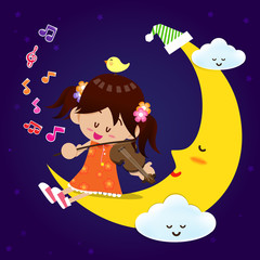Cute Girl play music with moon at night