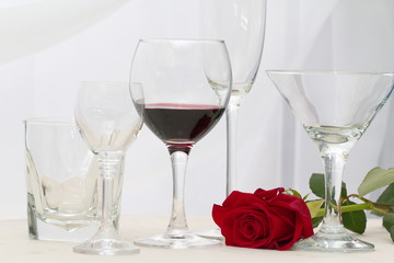 Wine, glasses and rose