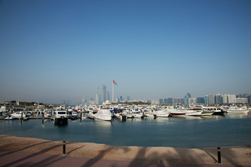 United Arab Emirates, Abu Dhabi, Skyline with harbor in foreground