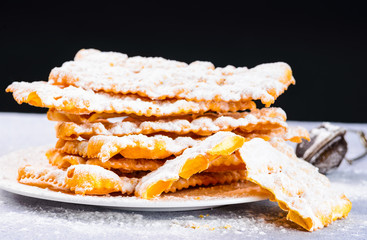Italian carnival sweets,pastry, chiacchere or crostoli.
