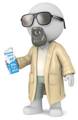 The Dude. The dude 3D character holding a Milk Carton.