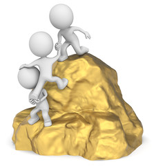 Fortune seekers. The dude 3D character x3 climbing a Gold.