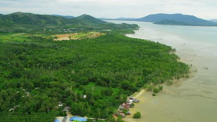 Aerial view coastal resorts mangrove forests, Phang nga bay, Thailand