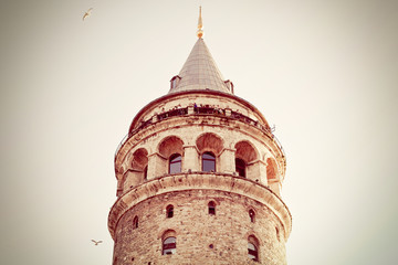 Turkey, Istanbul, Low angle view of Galata Tower