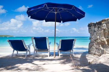 Antigua and Barbuda, Antigua, Beach chairs by sea
