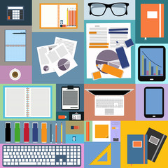 Flat design of Image of office space and objects.