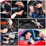 Car repair collage.
