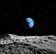 canvas print picture - Views of Earth from the moon surface