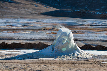 India, Jammu and Kashmir, Ladakh, Puga, Frozen Hot spring fountains in winter