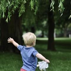Rear view of little boy running in park