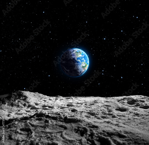 canvas print picture Views of Earth from the moon surface