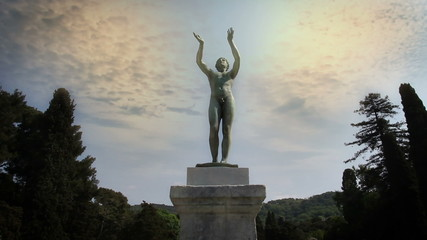 Shot of a statue of a naked man