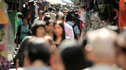 Busy street market blurred motion, Hong Kong, China