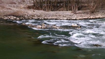 River running across rocks