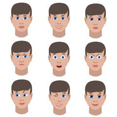 Set of variation of emotions of the same guy.