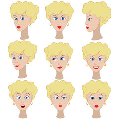 Set of variation of emotions of the same girl with blonde hair