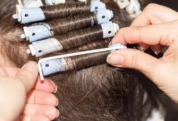 locks of hair in a beauty salon