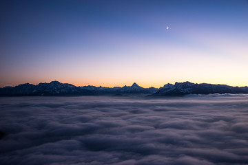 Austria, Salzburg, Gaisberg, Above clouds