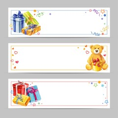 Set banners Gifts for the holidays. Greeting cards for