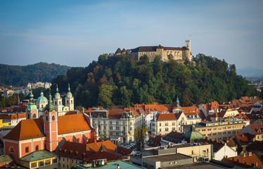 Slovenia, Ljubljana, Castle on wooded hill and surrounding cityscape